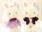 白玩偶 情侣结婚纱礼服小兔子宝宝 毛绒玩具公仔 婚庆结婚礼物