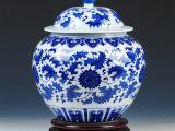 景德镇陶瓷器仿古青花缠枝莲将军罐储物罐带