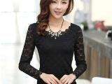 2014夏季 韩版爆款女装 T恤 网纱双层蕾丝打底衫批发