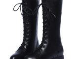 英伦头层牛皮内增高女靴 个性前系带中筒骑士靴 真皮靴子批发