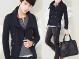 2014秋季新款韩版男修身款呢大衣时尚双排扣大翻领男款大衣潮外套