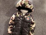 2015新款冬装男童迷彩棉衣中小童棉袄儿童棉服加绒加厚童装外套