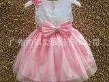 厂家批发 大组  粉色 女童亮片礼服 玫瑰肩花礼服   蝴蝶结礼服