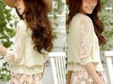 2014韩版女装套短薄小坎肩防晒衫蕾丝百搭开衫小披肩