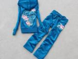 2014春季新款时尚童装天鹅绒刺绣休闲学生套装钻钻运动套装亲子装