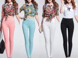 热销2015春季新款韩版女裤 性感蕾丝高腰弹力修身小脚裤 打底裤