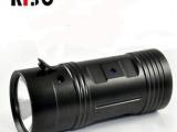 大功率强光钓鱼灯 夜钓灯 蓝光5W双光源4档变焦调光强光手电筒