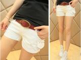 2014夏装新款 女装韩版牛仔裤 磨破铆钉显瘦白色牛仔短裤
