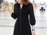 2015夏季新款韩版大码女装开衫上衣高腰褶皱显瘦七分袖雪纺衬衫