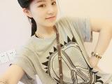 2014新款夏装韩版潮中长款短袖t恤 大码女装T恤