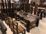 新款老船木茶台茶桌茶几无油漆茶台船木灯架船木靠背椅
