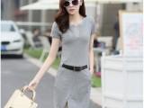 韩国代购新品韩版修身包臀短袖连衣裙纯棉开叉中长款女裙配腰带