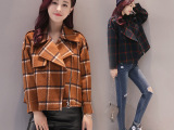 2016冬装西装领毛呢大衣韩版短款修身款