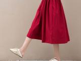 2015春装新品 亚麻抽带半身裙A8221