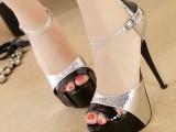 夏季新款凉鞋 欧美性感弧形设计鱼嘴防水台镂空高跟凉鞋 7076