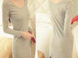 2013秋冬装新款韩版女装修身圆领纯色打底衫 长袖螺纹棉弹力T恤