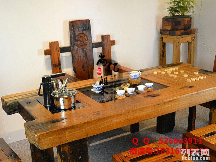 古船木茶几实木茶艺桌椅组合批发阳台功夫茶几老船木家具
