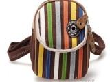 北包包 韩版帆布休闲时尚条纹单肩斜挎包包 可做腰包0423