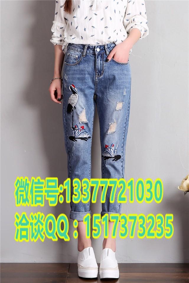 四川成都哪里批发外贸整款牛仔裤品牌尾货10元以下印花牛仔裤