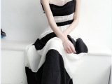 1021雪纺连衣裙夏条纹海军风连衣裙显瘦a字连衣裙拖地长裙夏
