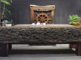 厂家直销古船木整板茶桌 厚板龙骨茶台