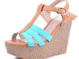 红蜻蜓超高跟坡跟2014新款时尚凉鞋 松糕跟防水台罗马真皮女凉鞋