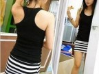 日系日韩 女装夏装新款 超级推荐 百搭打底条纹女装 背心