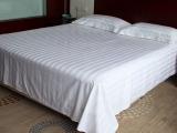 酒店宾馆床上用品批发 纯白色全棉纯棉三公分缎条竖条纹床单