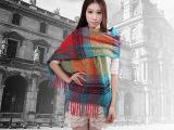 厂家直销 珊瑚绒保暖大披肩 圈圈纱秋冬新款 彩色格子围巾