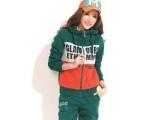 冬季韩版休闲套装女装 印花拼色连帽女装