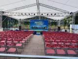 南海庆典舞台背景年会布置开业庆典贵宾椅灯光架龙门架铁马吧台