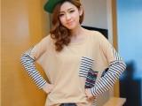 2014秋季新款 韩版女装上衣 拼接条纹棉T 宽松长袖T恤 FW