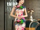 夏季新款原创女装高档桑蚕丝短款旗袍 复古修身连衣裙 女