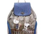 【爆款】史努比女包 时尚驼鸟纹糖果色双肩包 超值价背包学院包