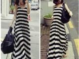 2014春夏新款女装衣服韩国 黑白条纹背心裙连衣裙女 波西米亚长