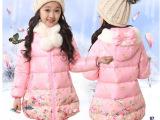 童装女童冬装棉衣新款韩版加厚碎花保暖棉衣中大童连帽中长款棉服
