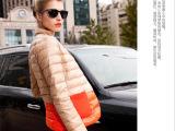 2014冬装新款韩版小西装轻薄羽绒服女 立领短款修身薄款羽绒外套