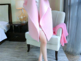 羊毛呢外套女上衣韩国代购宽松中长款粉色大衣潮 无扣子招代理
