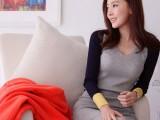 人气秋韩版女装OL气质纯棉螺纹撞色性感包臀显瘦长袖连衣裙打底衫