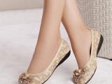 厂家直销2014新款真皮女鞋单鞋内增高跟圆头花朵跳舞鞋 一件代发