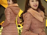 2014冬装新款正品韩版羽绒服女中长款加厚大毛领修身系腰带外套潮