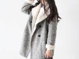 韩国东大门韩国外套羊毛呢大衣女西装领呢子大衣双排扣呢子外套
