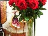 单支植绒玫瑰,绒布玫瑰,角玫,仿真卷边玫