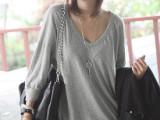 批发依服吧大码女装 韩版宽松中长款V领七分袖纯棉针织衫T恤 33