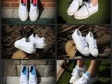 NIZZA LO红蓝白LOGO韩国流行百搭校园鞋情侣款清新帆布鞋