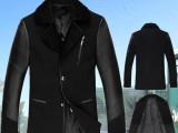 品牌男装男士真皮拼接休闲毛呢大衣男式真皮皮衣呢子大衣