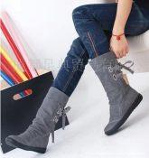 秋冬休闲骑士靴中筒女靴子舒适平底内增高女靴子大码靴雪地靴HK