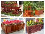 室内外原木制品长方形落地式挂式多层式防腐木花盆花箱花槽花架