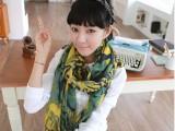 韩国秋冬新款超长围巾 女士玫瑰棉麻大披肩 韩版两用围脖ZS8