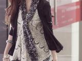 2014春季新款女装 高档精品女装 韩版瑞丽百搭蕾丝+雪纺 外套